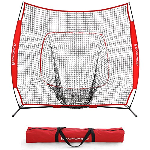 SONGMICS 7′ x 7′ Baseball Net, Portable Softball Net, Practice Net with Carry Bag, Ground Stakes, for Hitting and Batting Practice, Red, USBN77RD