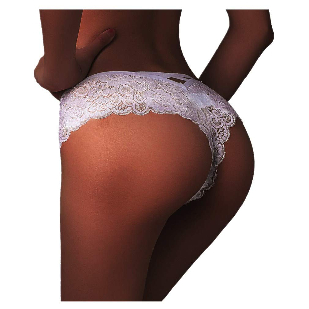 TWGONE Sexy Women Lace Flowers Low Waist Underwear Panties G-string Lingerie Thongs(Medium,White)