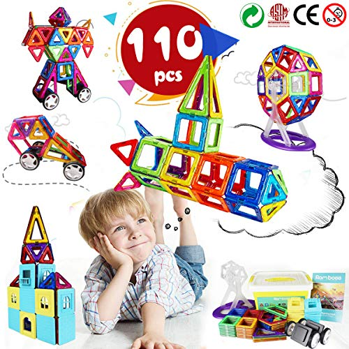 Romboss 110 Pcs Creative Magnetic Building Blocks 3D Magnet Tiles Set -STEM Preschool Educational Construction Toys Kits for Kids,Upgrade Strong Magnets