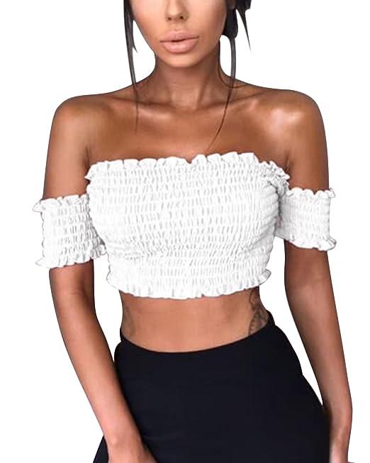Mujer Verano Blusas Sin Tirantes Camisas de Manga Corta Elegantes de Fiesta T-Shirt Blusa Crop Tops Blanco ES 44: Amazon.es: Ropa y accesorios