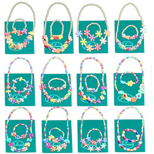 Jalousie 12 Sets Deluxe Girls Party Favor Jewelry Collections of Necklace and Bracelet for Easter Egg Filler (Deluxe Favor)