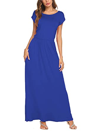 e84e20d362 BLUETIME Women s Short Sleeve Maxi Dress with Pockets Plain Loose Pleated  Swing Casual Long Dresses (