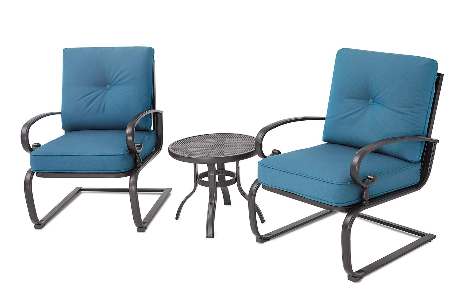 Incbruce Outdoor Bistro Set 3-Piece Spring Metal Lounge Cushioned Chairs and Bistro Table Set|Wrought Iron Cafe Furniture Seat,Peacock Blue