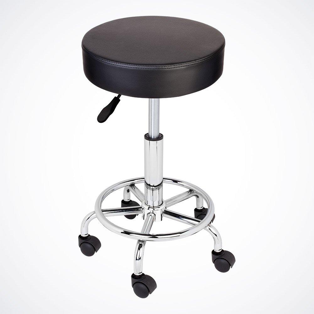 GotHobby Black Adjustable Tattoo Salon Stool Hydraulic Rolling Chair Facial Massage Spa