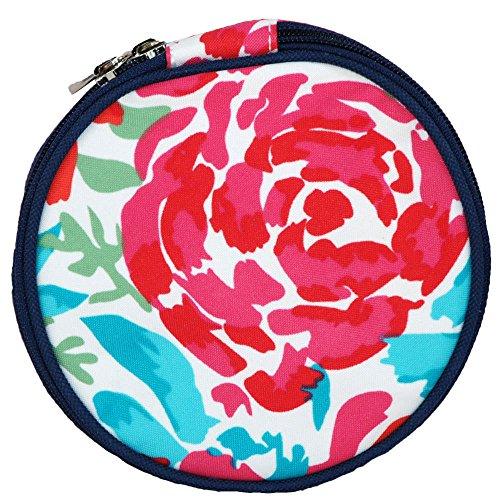 Floral Meadows Round Jewelry Travel Organizer Bag