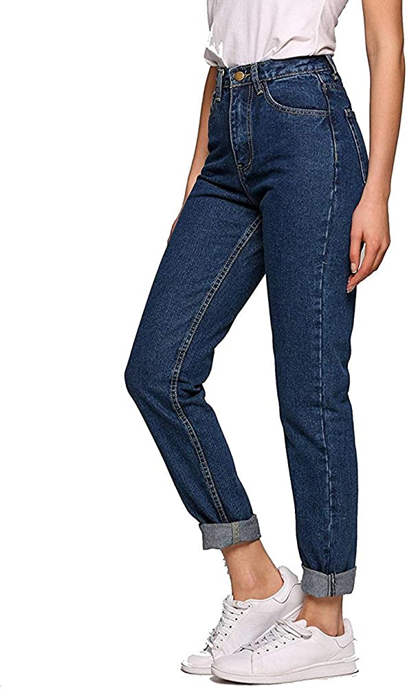 77829a8ca14c Romanstii Women's High Waist Mom Jeans,Boyfriend Straight-Leg Denim Pants  (Dark Blue