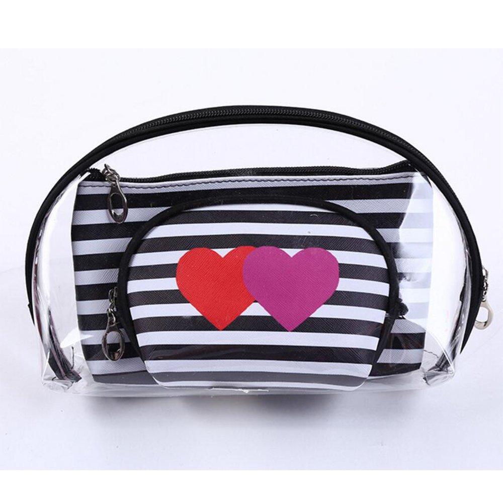 HOYOFO 3 Pcs Portable Cosmetic Bag Set Travel Love Stripe Makeup Organizer Waterproof Zipper Handbag,Black