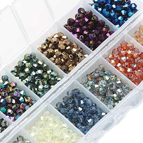 1168PCS Jewelry Making Bead Supplies Beads Bulk,15 Colors 8mm Round Acrylic Wooden Glass Stone Decorative Beads for Jewelry Making Bracelet Necklace DIY Friendship Bracelet Kit Jewelry Making Gifts