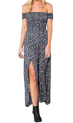 Hikong lange Kleider Damen elegantes Partykleid Maxikleid mit Schlitzen  Schulterfrei Blumenmuster Strandkleider: Amazon.de: Bekleidung