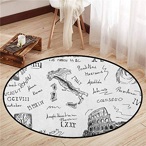 Pet Rugs,Toga Party,Ancient Roman Period Icons Caesar Colosseum Gladiator and Map Sketch Art,Rustic Home Decor,3'3
