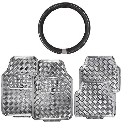 Shiny Silver Metallic Finish Vinyl Floor Mats w/ ProSleek Synth Leather Steering Wheel Cover