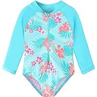 TFJH E Girls Long Sleeve Swimsuits UPF 50+ Swimwear Rash Guard Bathing Suit with Zip