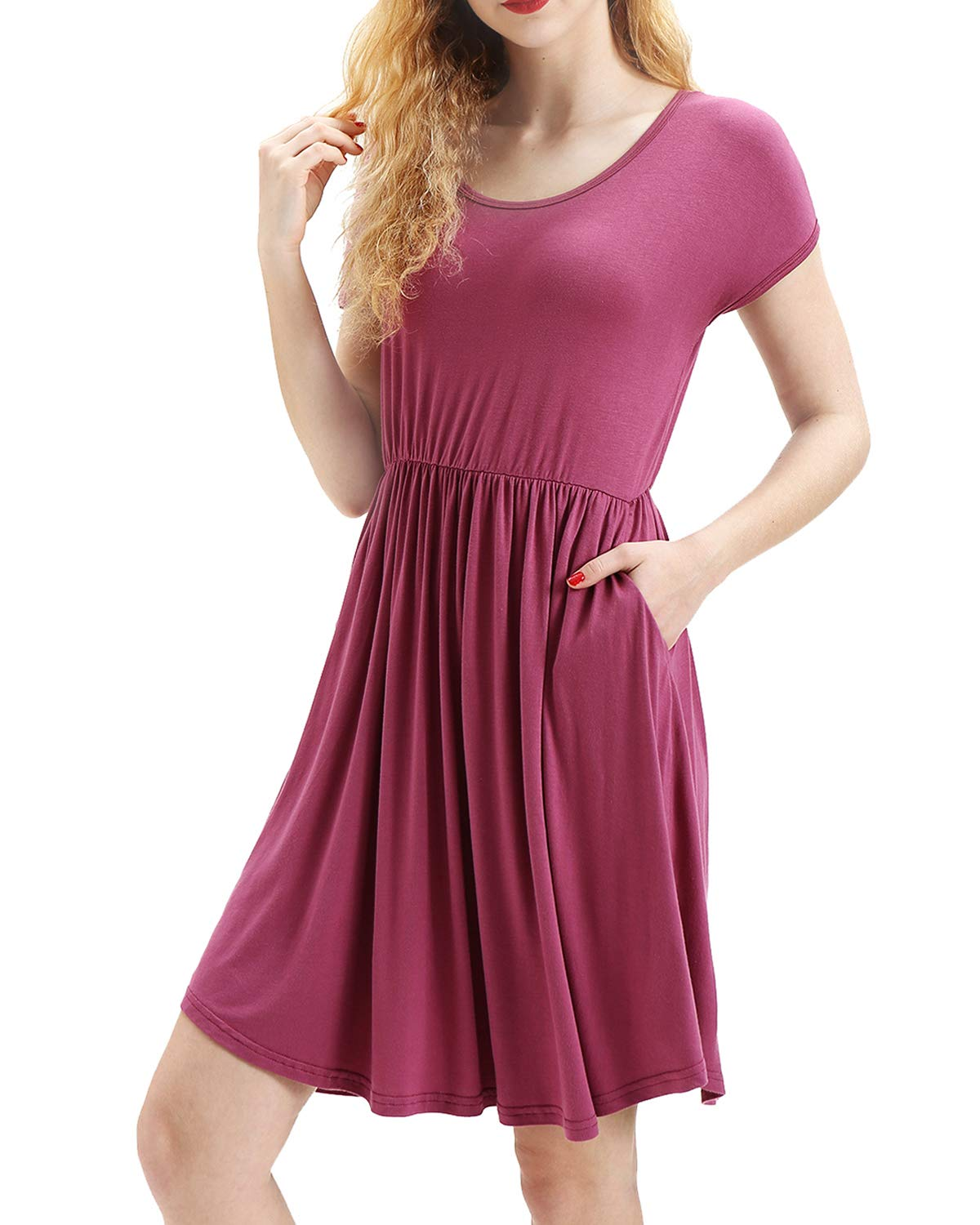 deesdail Tunic Dresses for Women to Wear with Leggings, Ladies Scoop Neck Short Sleeve Midi Dresses Long Tunic with Pockets Knee Length Shirts Mauve M