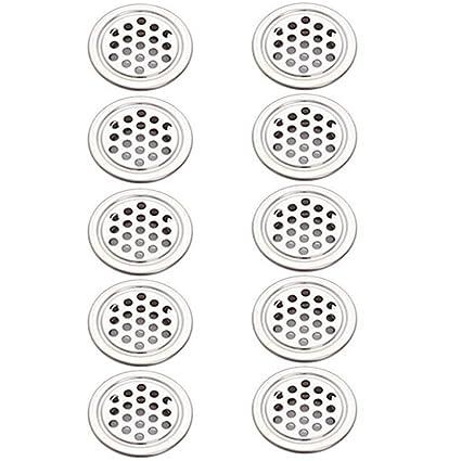 10 Rejillas de Ventilaci/ón Redondas de Acero Inoxidable de 40mm