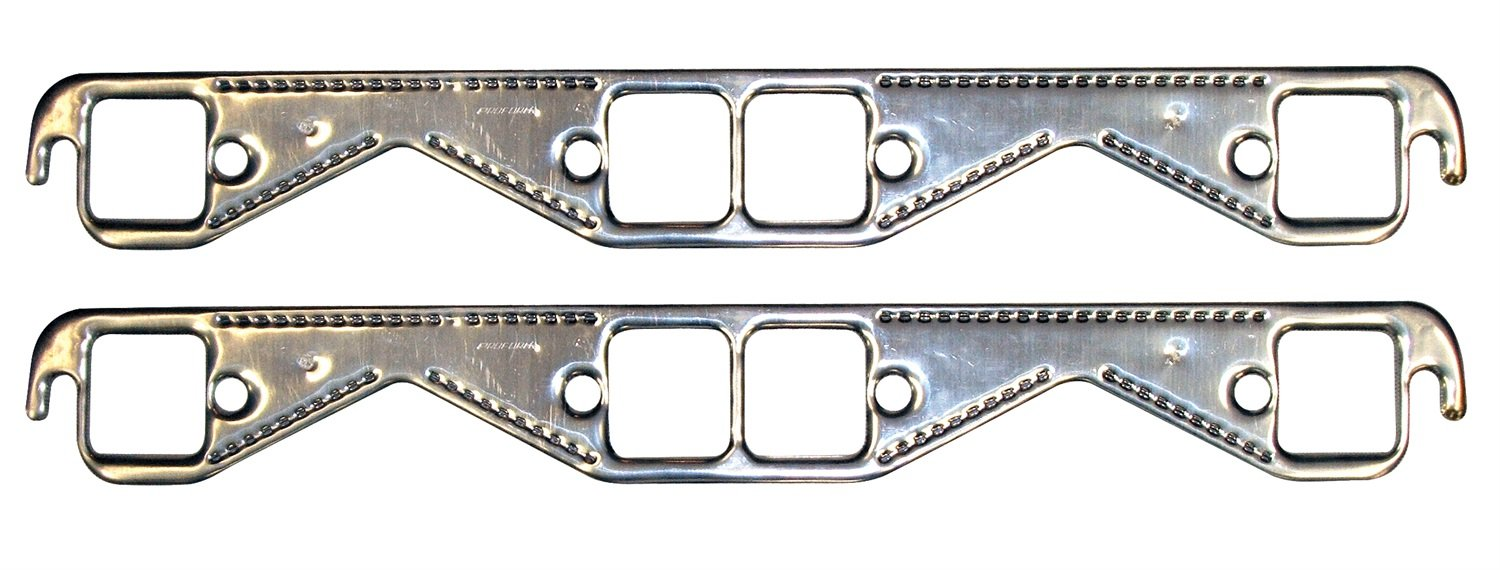 Proform 67921 Aluminum Exhaust Header Gasket with Square Ports for Small Block Chevy - Pair