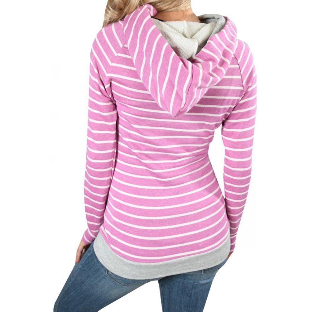 Juleya Kapuzenpullover Casual Gestreift Langarmshirt Oberteil S M L XL XXL Damen Hoodie Pullover Sweatshirt