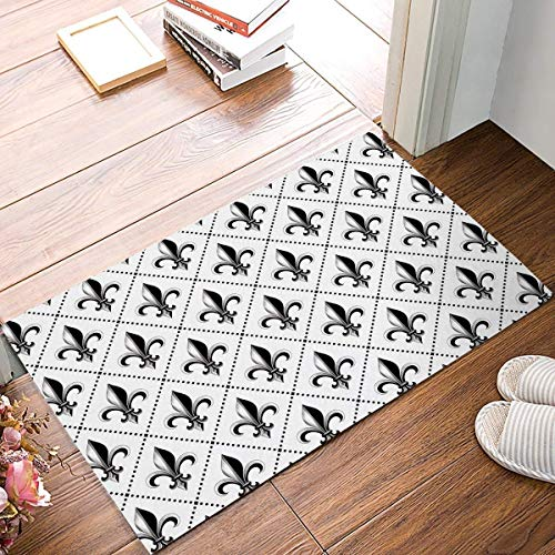 Pingshoes Doormat French Lily Iris Pattern Printed Entrance