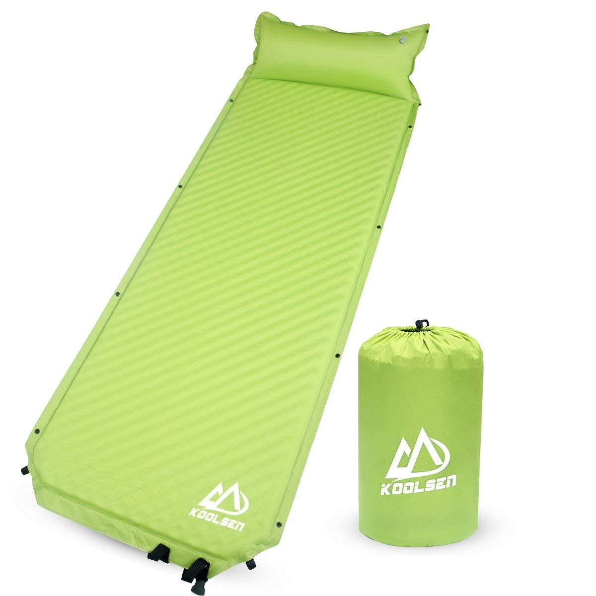 KOOLSEN Camping Self Inflating Sleeping Pad Attached Pillow Lightweight Air Sleeping Pads