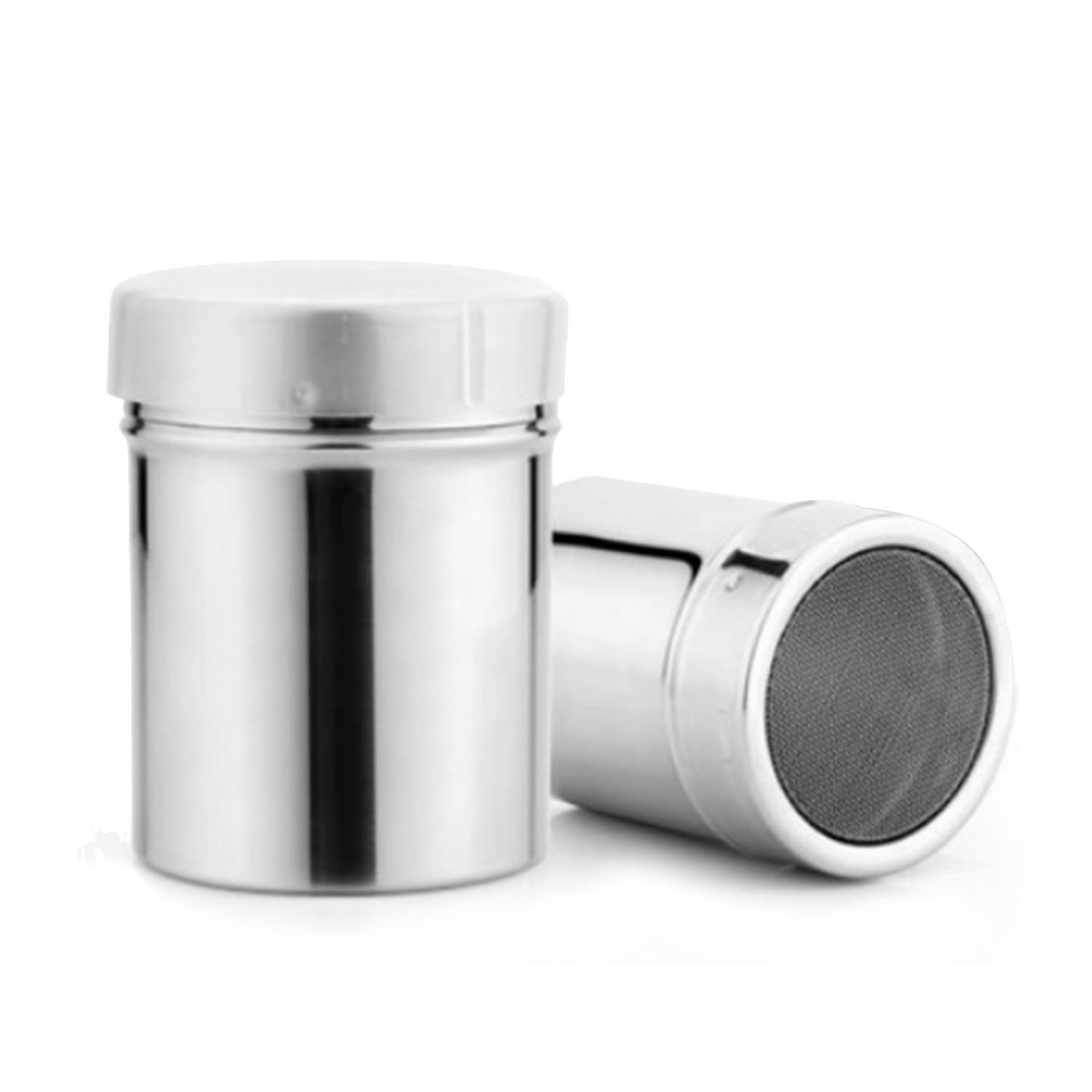 2 PCS Stainless Steel Icing Sugar Powder Cocoa Flour Sifter Shaker Tube Coffee Cooking Tools Cruet Kitchen Supplies