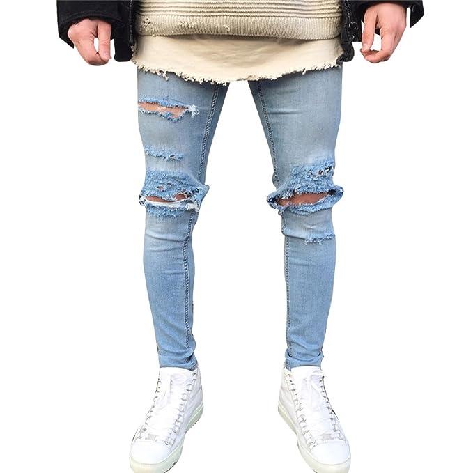 Pantalones Vaqueros Rasgados para Hombre Skinny Pantalones ...