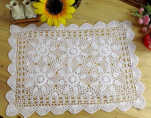 - Damanni Rectangular Cotton Handmade Crochet Lace Table Runner Doilies Table Dresser Scarf Décor,20 Inch by 27 Inch,White