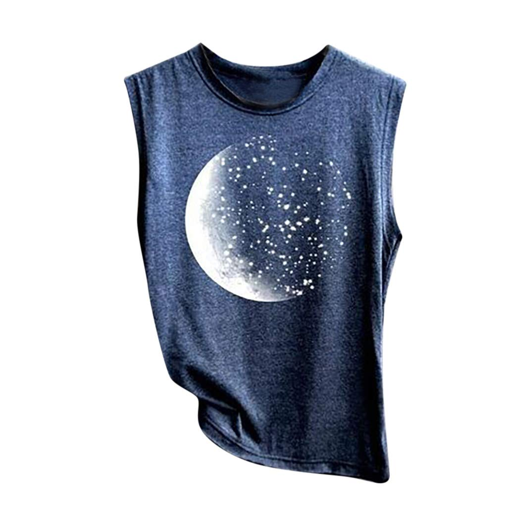 Women's Tank Sport Sleeveless Vest Top Moon Print Casual Camisoles Summer Loose T Shirt Pullover Crop Tops Camis Blouse Navy