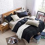 ACCENTORY 100% Polyester Microfiber Queen Size 3 Pieces Duvet Sets 1 Duvet Set & 2 Pillow Shams Pillowcases (BLACK)