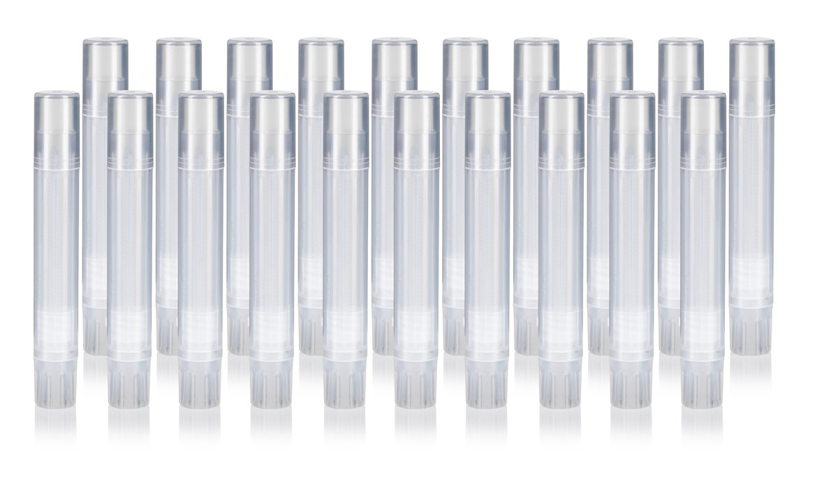 Slim Clear Natural Empty DIY Lip Balm Container Tubes (20 pack) + Funnel, 0.07 oz / 2 ml - Twist Up Base and Cap, For lip balm, solid perfume, body balms, cuticle creams and more!
