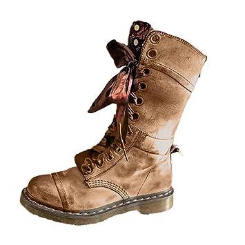 ZARLLE_Botas Botas Mujer,ZARLLE Retro Botas Medias de Cuero Planas Lace-UP Shoes Plataforma Antideslizante Punta Redonda Zapatos de Cremallera con Cordones ...