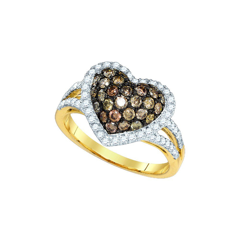 10kt Yellow Gold Womens Round Cognac-brown Colored Diamond Heart Love Ring 1-3/8 Cttw (I2-I3 clarity; Brown color) by Jewels By Lux (Image #1)