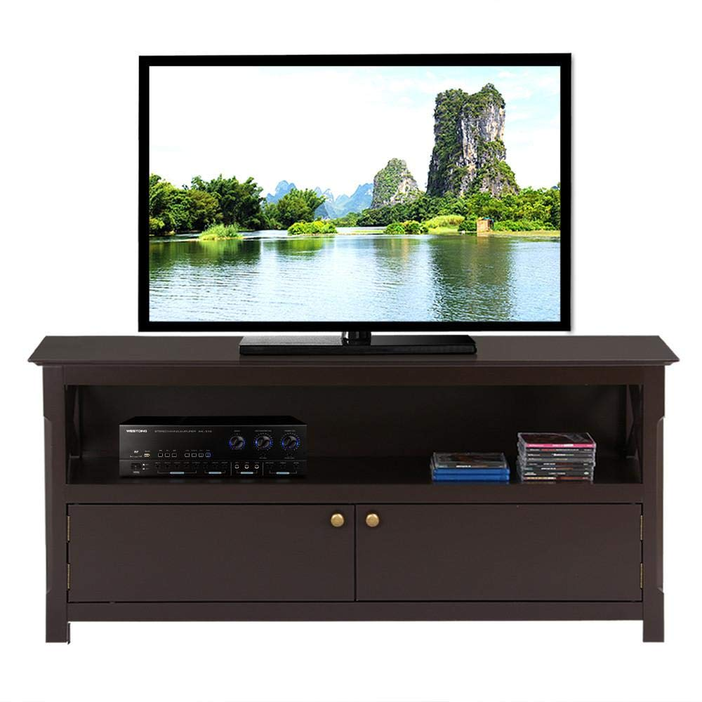 Topeakmart Wood TV Stand for Flat Screens with 2 Doors Storage Cabinets and Open Shelf, Espresso by Topeakmart