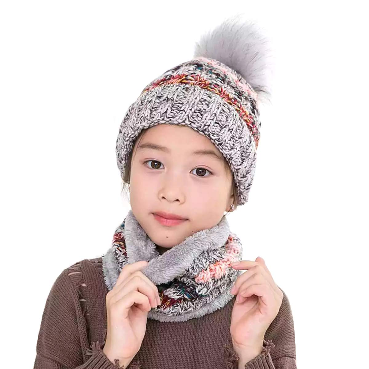 Lanzom 2pcs Baby Girls Boys Winter Hat Thick Scarf Set Toddler Knit Warm Cap + Circle Scarf Neck Warmers One Size(Fit for 2-8 Years))