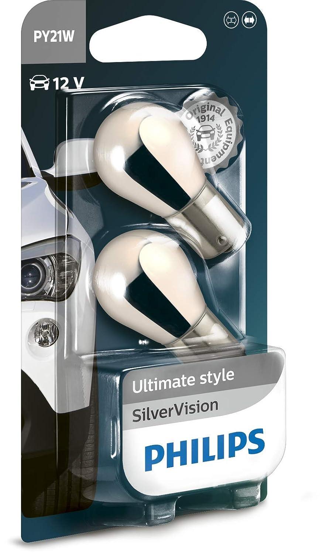 Set de 2 Pieces BAU15S Philips SilverVision PY21W 21W Ampoules Clignotant