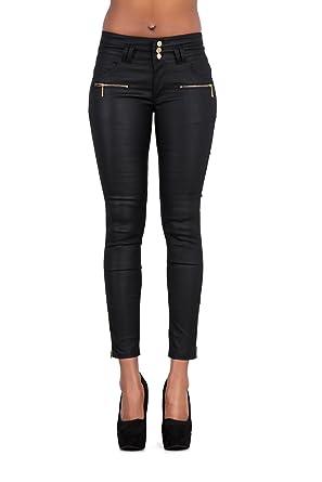 Womens Leather Look Black Trousers Skinny Slim Fit Ladies Jeans Sizes UK  6-14 (8 dc0fca889