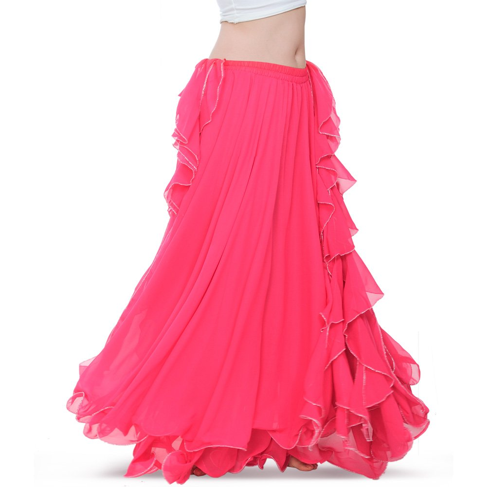 ROYAL SMEELA Women's Belly Dance Chiffon Skirt ATS Voile Maxi Full Dress Bellydance Skirts Hot Pink One Size by ROYAL SMEELA