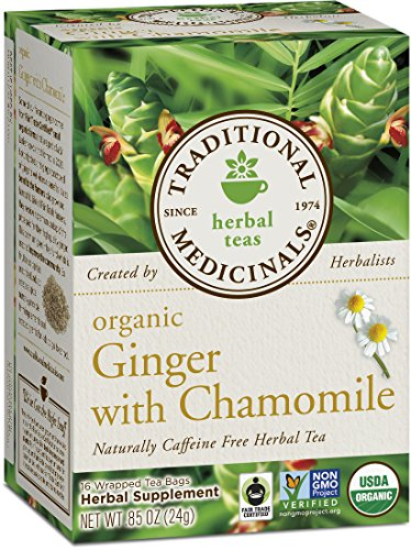- Traditional Medicinals Organic Ginger with Chamomile Herbal Leaf Tea, 16 Tea Bags (Pack of 6)