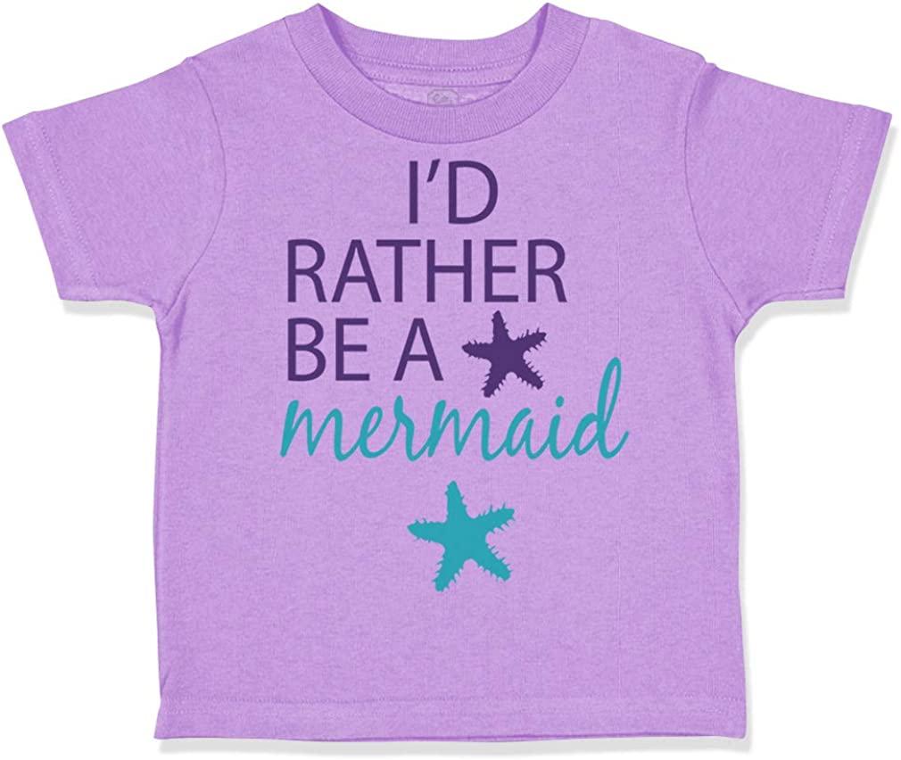 Custom Toddler T-Shirt Id Rather Be A Mermaid Funny Humor Boy /& Girl Clothes