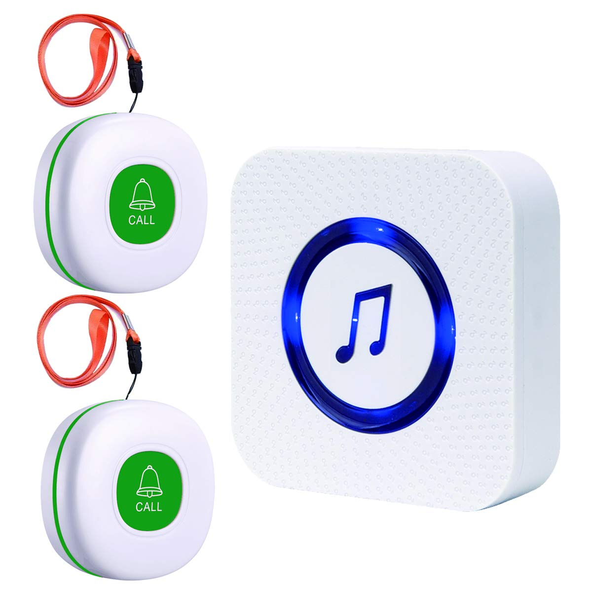 SanJie Caregiver Pager Wireless SOS Call Button Nursing Calling System for Elderly/Patient/Disabled at Home with 1 Receiver & 2 Waterproof Transmitters