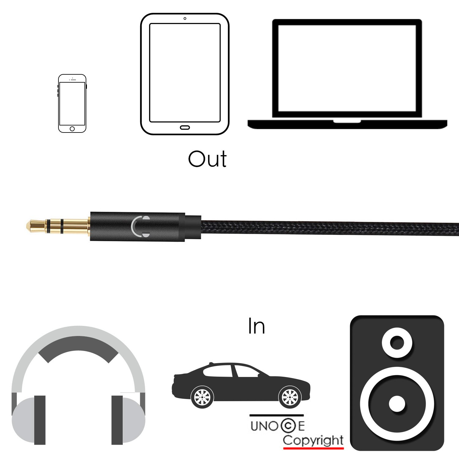 Iphone X Aux Cord Unooe 8 Cable For Car To Automotive Wiring Home Audio Speakers 35mm Headphone Jack Adapter On Iphones Plus Stereobose Speaker Beats Headphoneipadipod Black