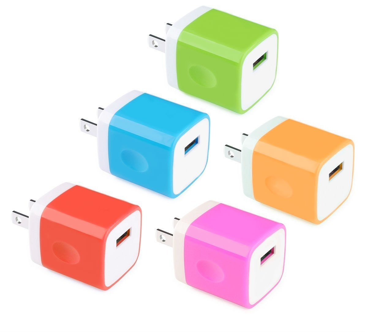 Wall Charger, Universal USB Port Power Portable Adapter AC 5W Home Charger for iPhone 7 SE 6S/6S Plus/6/6 Plus/5S, Samsung, Android, Windows Smart Phone, Power Bank and More USB Devices (5 Pack)