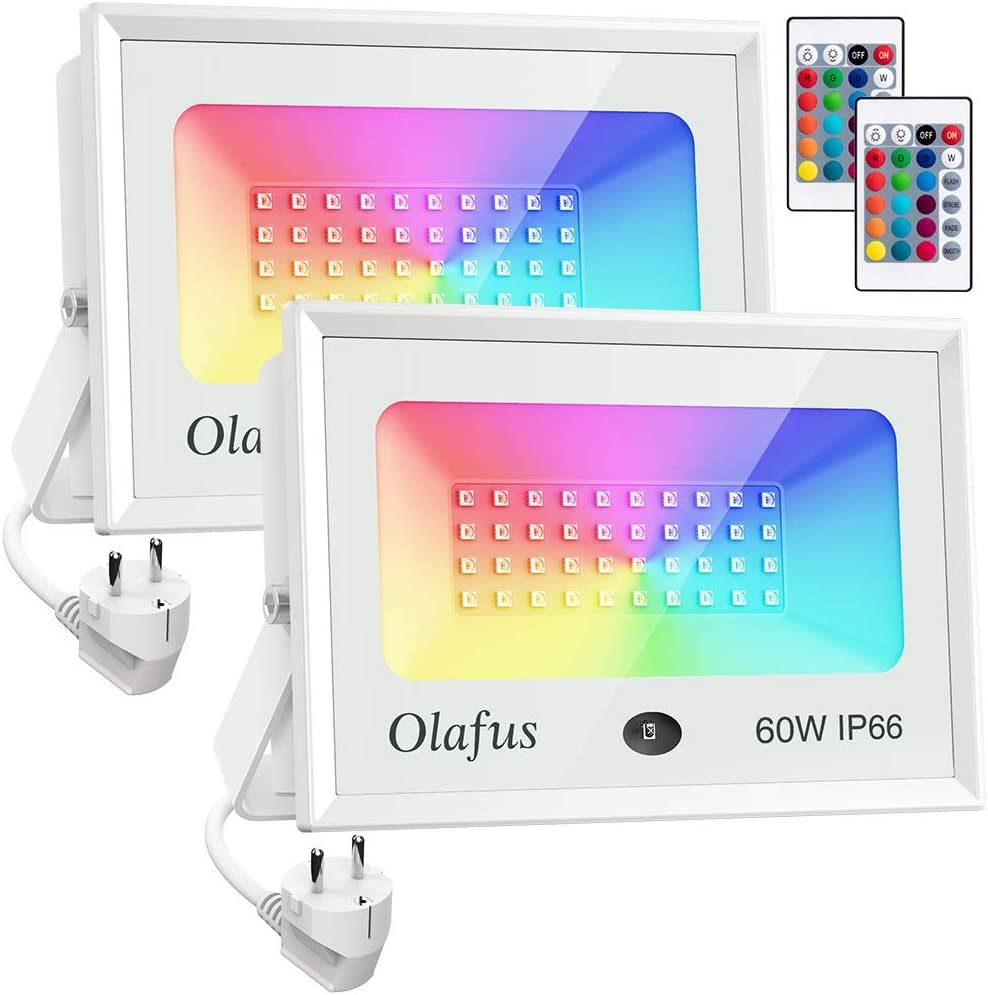Olafus 2x 60W Focos LED RGB de Colores Dimmables,Focos Led Exterior, Control Remoto, 16 Colores y 4 Modos IP66 Impermeable, para Decoración Fiesta, Árbol, Jardín, Bar, Pared