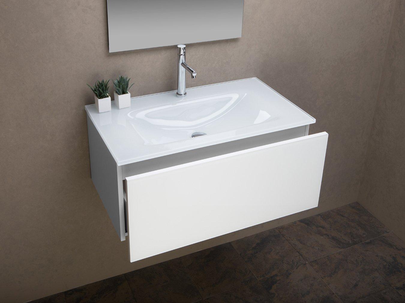 Badezimmer Schrank mit UltraClear Glas Waschbecken weiß lackiert cm ...
