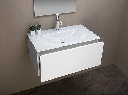 Badezimmer Schrank Mit Ultraclear Glas Waschbecken Weiß Lackiert