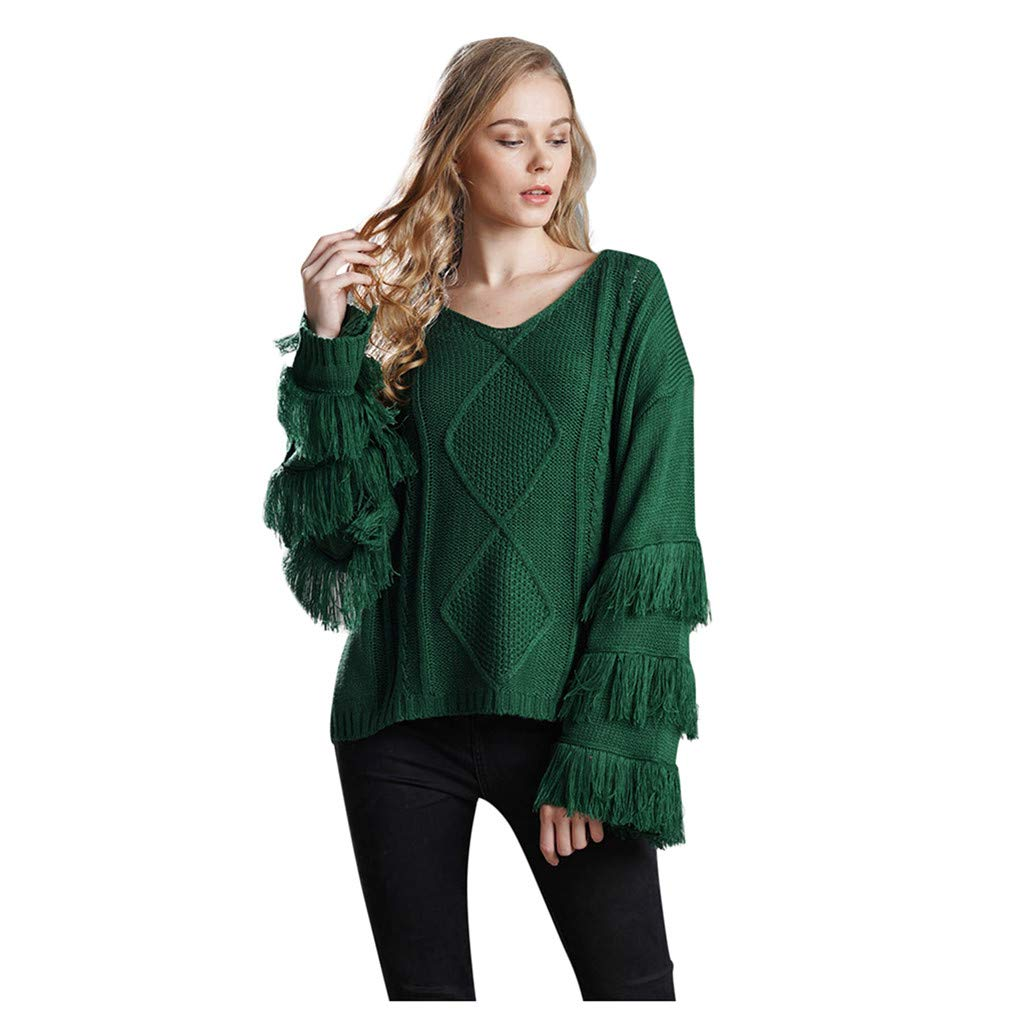 Shusuen Women's Knitwear Pullover V Neck Flared Tassel Sleeve Side Slit Knit Cable Sweater Army Green by Shusuen_Clothes