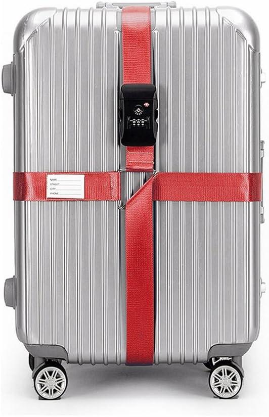 BlueCosto Croix TSA Verrouillage Sangle /à Bagage Sangles de Voyage Valise Bagages Rouge