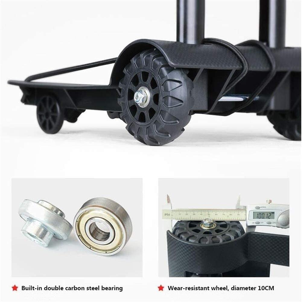Okla Convenient Car Light and Compact Portable Portable Trailer Carrying Four Shopping Bags of Luggage Cart Weight 40kg Easy to Carry Color : Black Foldable