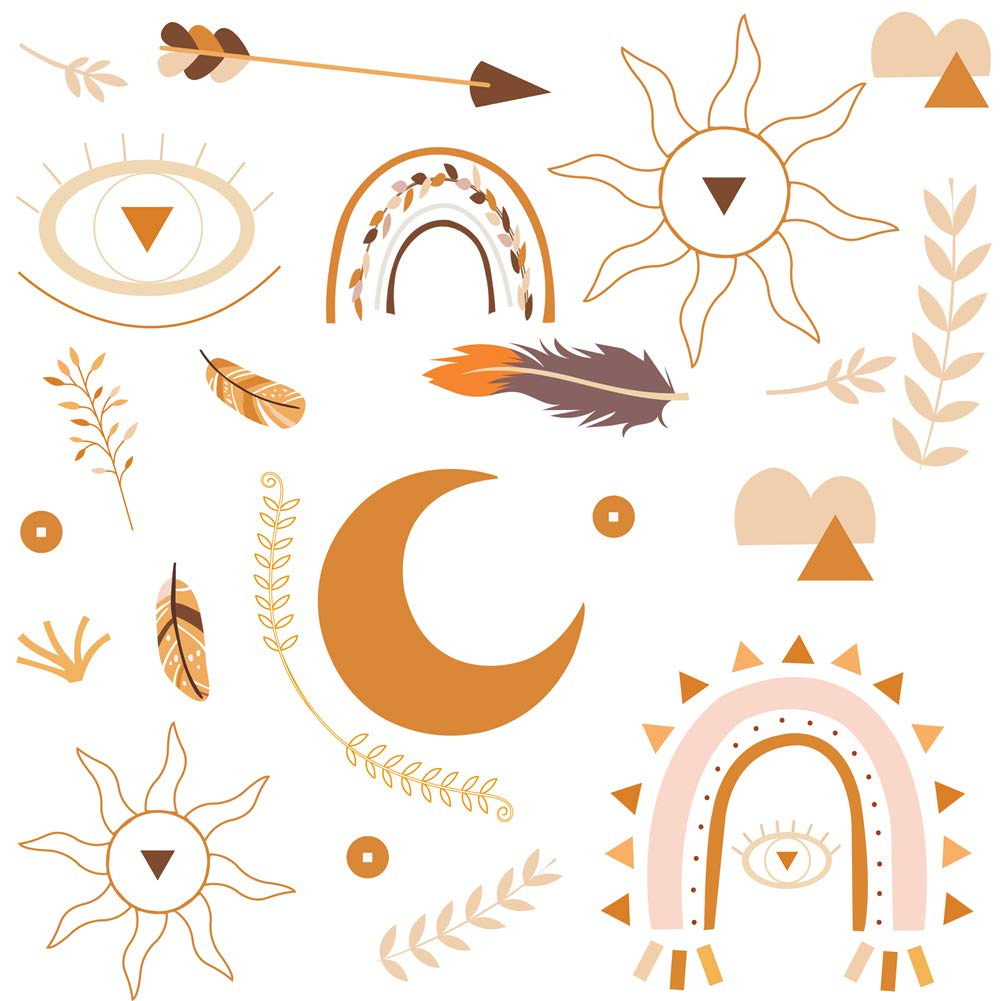 """DrCor Boho Wall Decal Warm Earth Tone Moon Phase Rainbow Arrow Feather Eye Neutral Modern Wall Stickers for Aesthetic Bedroom Nursery Living Room, 2 Sheets 23""""x14"""""""