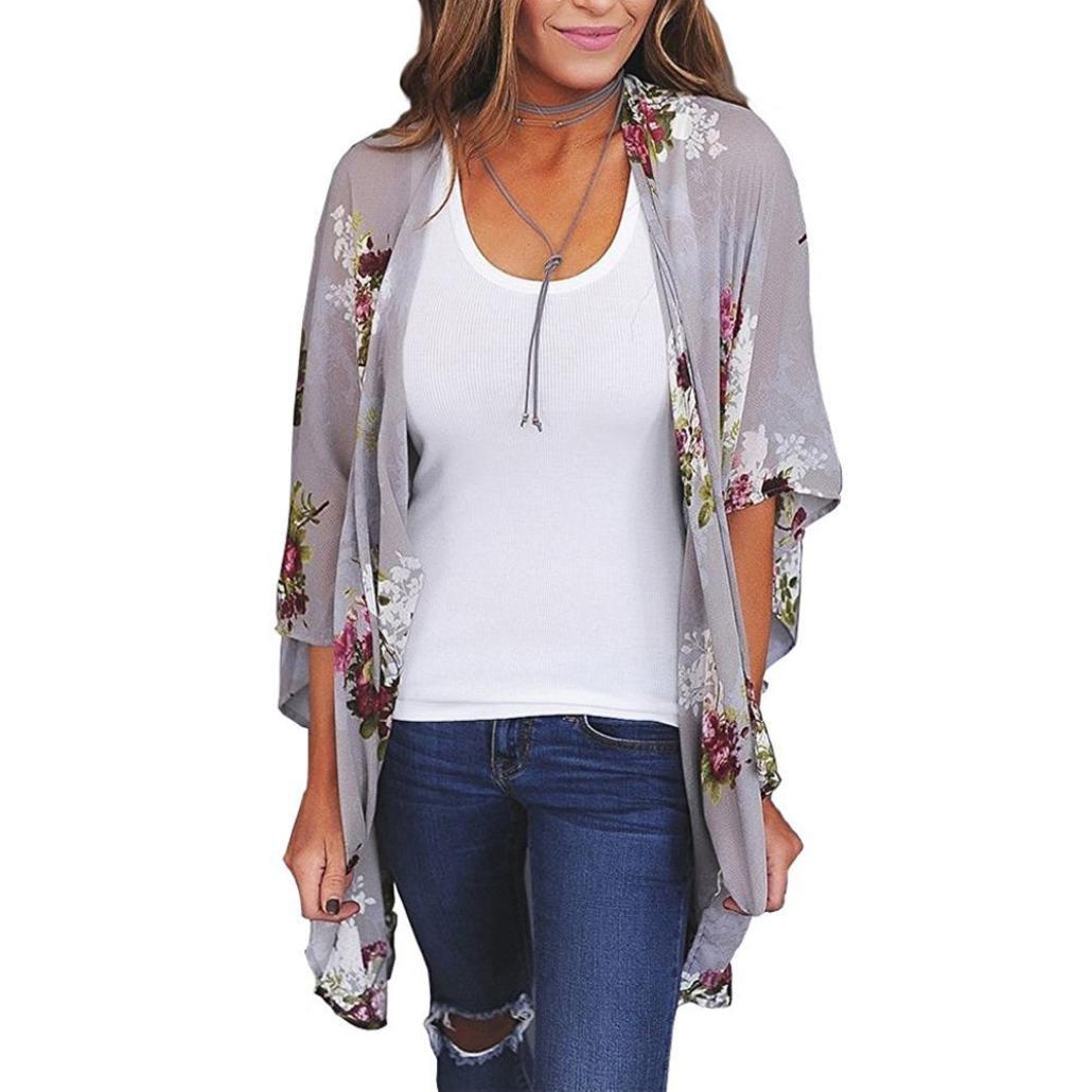 CUCUHAM Women Chiffon Loose Shawl Print Kimono Cardigan Top Cover Up Blouse Beachwear (M, Gray)