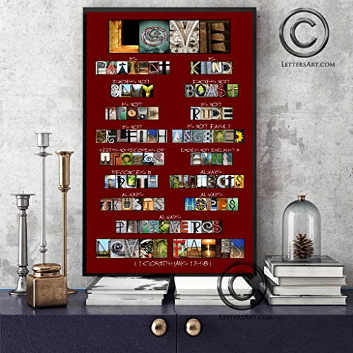 1 Corinthians 13 Love Is Patient / Love Is Kind - Inspirational Bible Scripture Artwork - 10x20 Framed Print - Wedding Gift Anniversary Letter Art Alphabet Photos Color