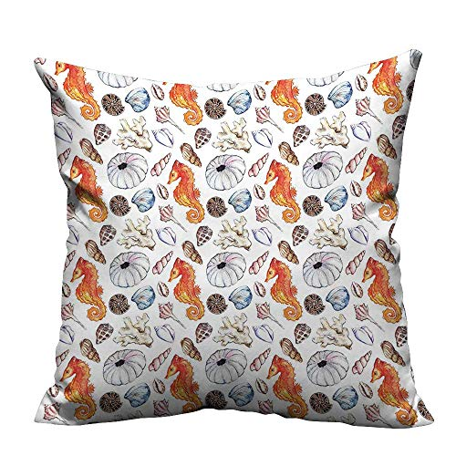 (YouXianHome Home DecorCushion Covers Deep Sea Elements Screw Crabs Urchin Oyster Coral Amm it Print Comfortable and Breathable(Double-Sided Printing) 19.5x26 inch)